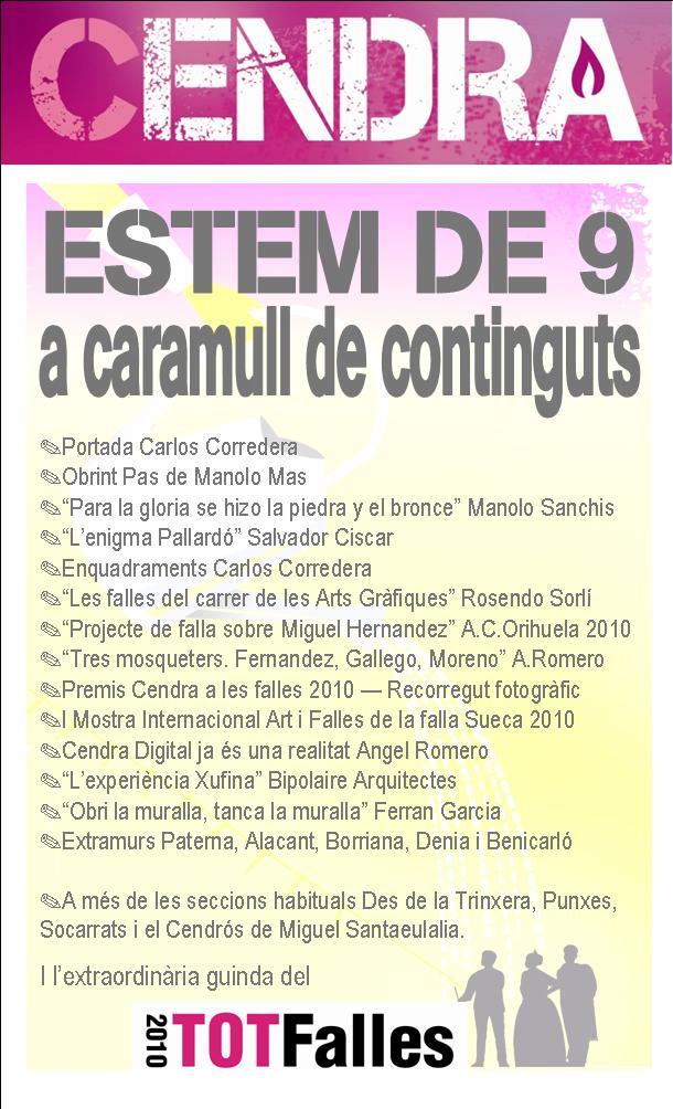 CENDRA 9 CONTINGUTS